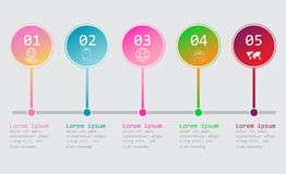 Infographics πέντε βημάτων - μπορεί να επεξηγήσει μια στρατηγική, μια ροή της δουλειάς ή μια εργασία ομάδων Επιχειρησιακό infogra ελεύθερη απεικόνιση δικαιώματος