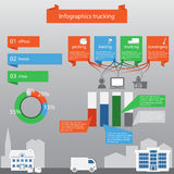 Infographics που μεταφέρει με φορτηγό στο επίπεδο ύφος Στοκ εικόνα με δικαίωμα ελεύθερης χρήσης