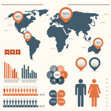 Infographics που τίθεται με τον παγκόσμιο χάρτη Στοκ εικόνες με δικαίωμα ελεύθερης χρήσης