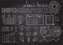 Infographics στον πίνακα κιμωλίας με την έννοια SEO Στοκ φωτογραφία με δικαίωμα ελεύθερης χρήσης