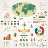 Infographics ταξιδιού με τα εικονίδια και τα στοιχεία στοιχείων Στοκ Εικόνες