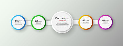 Infographics τεσσάρων βημάτων με τους ζωηρόχρωμους κύκλους Στοκ Εικόνα