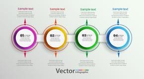 Infographics τεσσάρων βημάτων με τους ζωηρόχρωμους κύκλους Στοκ Φωτογραφία