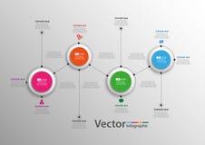 Infographics τεσσάρων βημάτων με τους ζωηρόχρωμους κύκλους Στοκ φωτογραφία με δικαίωμα ελεύθερης χρήσης
