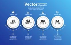 Infographics τεσσάρων βημάτων με τους κύκλους στο μπλε Στοκ εικόνα με δικαίωμα ελεύθερης χρήσης