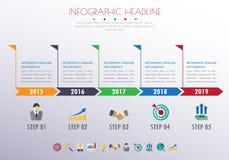 Infographics υπόδειξης ως προς το χρόνο με τα εικονίδια καθορισμένα διάνυσμα απεικόνιση Στοκ Εικόνες