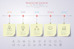 Infographics υπόδειξης ως προς το χρόνο με τα εικονίδια καθορισμένα διάνυσμα απεικόνιση Στοκ Φωτογραφία