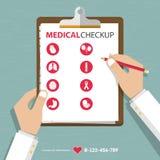 Infographics данных по отчете о медицинского проверки в плоском дизайне Стоковые Изображения