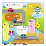 Infographics графика течения конспекта стиля шаржа Стоковая Фотография