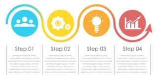 Infographics дела с стрелкой Шаблон с 4 элементами, шагами, вариантами Стоковые Изображения