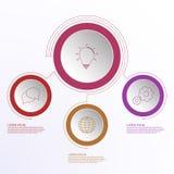 Infographics дела 3 шагов с значками плана соединилось линиями Стоковая Фотография