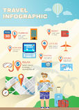 Infographics лета плановика каникул плоское Стоковые Изображения