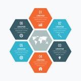 Infographics иллюстрации вектора 6 шестиугольников Стоковое Изображение