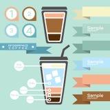 Infographics кофе и бирка - ярлык Стоковые Изображения RF