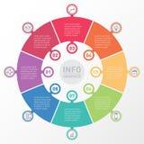 Infographics круга вектора с значками Шаблон для представления Стоковые Изображения RF