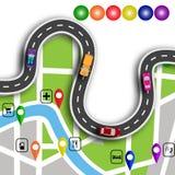 Infographics дороги Извилистая дорога с знаками 3d Путь определяет положение на навигаторе карты иллюстрация стоковое изображение rf