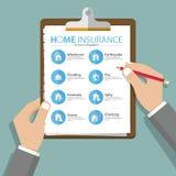 Infographics отчета о страхования дома или недвижимости в плоском дизайне вектор Стоковая Фотография