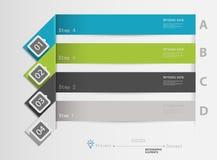 Infographics пронумеровало знамена можно использовать для плана потока операций, Стоковые Фото