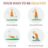 Infographics - 4 ПУТИ БЫТЬ HEALTY Стоковые Изображения