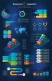 Infographics установило с вариантами Infographic, диаграмма и значок Концепция дела и снабжения с темной предпосылкой Стоковые Фото