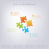 infographics части головоломки 3D Смогите быть использовано для веб-дизайна, диаграммы, для плана потока операций Стоковая Фотография
