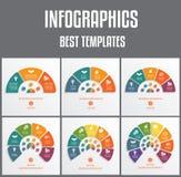 Infographics шаблонов пронумеровало для 3,4,5,6,7,8 вариантов Красочные полуокружности Иллюстрации вектора можно использовать как бесплатная иллюстрация