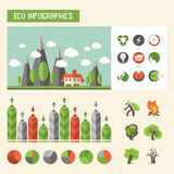 Infographics экологичности вектор комплекта сердец шаржа приполюсный Стоковые Изображения