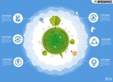 Infographics экологичности Экологический шаблон с плоскими значками Стоковые Изображения