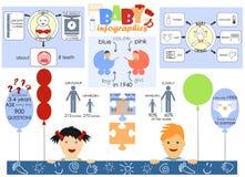 Infographics从新生儿和学龄前儿童生活  库存图片
