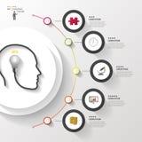 Infographics 有电灯泡的头 与象的现代五颜六色的圈子 向量 图库摄影