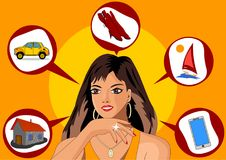 Infographics 5辩解与百万富翁,家,汽车,起动,游艇,智能手机结婚 库存例证