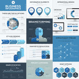 蓝色企业infographics传染媒介元素和模板 免版税库存图片