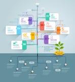 Infographics υπόδειξης ως προς το χρόνο επιχειρησιακών δέντρων Στοκ φωτογραφία με δικαίωμα ελεύθερης χρήσης