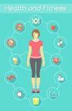妇女健身Infographics 库存照片