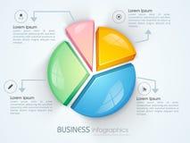 Επιχειρησιακό infographics με το ζωηρόχρωμο τρισδιάστατο διάγραμμα πιτών Στοκ εικόνα με δικαίωμα ελεύθερης χρήσης