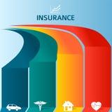保险小册子模板infographics色的条纹 图库摄影