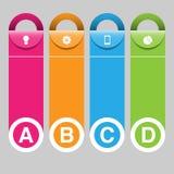 Infographics-Abdeckung, Fahnen-Design mit Ikonen Lizenzfreie Stockfotos