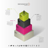 Infographics Abstract 3d concept met pictogrammen Vector Stock Foto