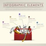 Infographics abstracto del tema de la caja de herramientas