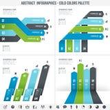 Infographics abstrato azul ajustou 3 Imagem de Stock Royalty Free