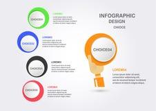 Infographics abstrato com a mão que guarda a caixa colorida do círculo Foto de Stock