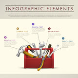Infographics abstrato do tema da caixa de ferramentas Foto de Stock Royalty Free