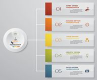Infographics abstrato 5 elementos do projeto da bandeira das etapas molde da disposição de 5 etapas Imagem de Stock Royalty Free