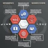 Infographics affärsintrig med för bakgrundsvektor för symboler den abstrakta illustrationen royaltyfri illustrationer