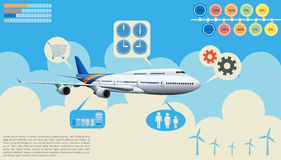 Infographics of the airplane. In the sky Stock Photo