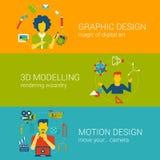 Infographics ajustado do vetor do plano do conceito das profissões do processo de projeto Fotos de Stock Royalty Free