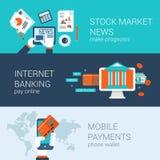 Infographics ajustado do Web site do vetor do molde liso das bandeiras dos ícones Fotografia de Stock Royalty Free