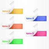 Infographics 5 alternativ krullade pappers- bandbaner för colorfull Arkivfoton