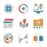 Infographics and analysis line icons set Royalty Free Stock Photos