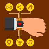 Infographics Arm with a Smartwatch in Flat Design Stock Images